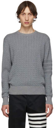 Thom Browne Grey Baby Cable Knit Crewneck Sweater