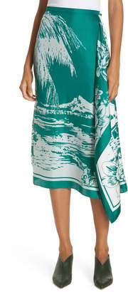 Tibi Leilani Print Silk Twill Midi Skirt