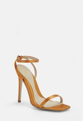 Missguided Mustard Satin Barely There Heels