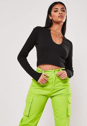Missguided Tall Black Notch Neck Long Sleeve Crop Top