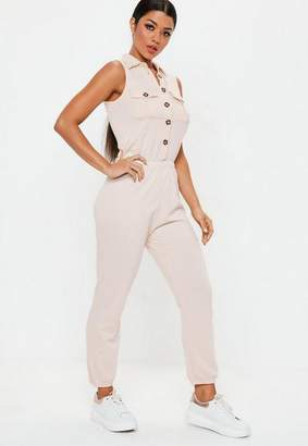 Missguided Nude Button Down Romper