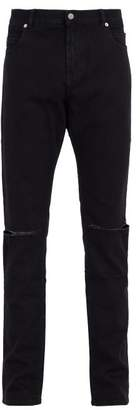Balmain - Distressed Mid Rise Jeans - Mens - Black