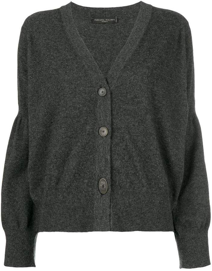 draped sleeve buttoned cardigan