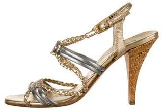 Prada Metallic Slingback Sandals