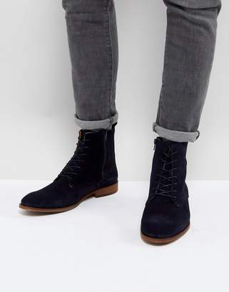 Zign Shoes Suede Lace Up Boots In Navy