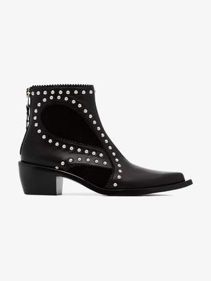 Alexander McQueen black cowboy 40 studded leather boot