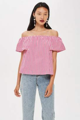 Topshop Gingham Bardot Top