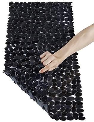 clear NTTR Non Slip Bath Mat Anti-Bacterial Tub Mat Pebbles Bathtub Mat Slip Resistant Shower Mats Black