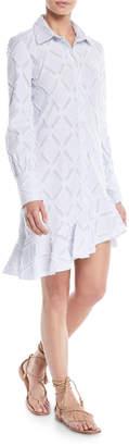 Derek Lam 10 Crosby Long-Sleeve Shirtdress w/ Ruffle Hem