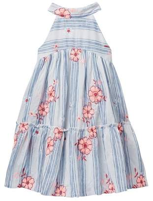 AVA AND YELLY Mock Neck Tiered Striped Dress (Big Girls)
