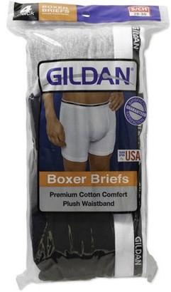 Gildan Men's 100% Premium Cotton Boxer Brief, 4-Pack