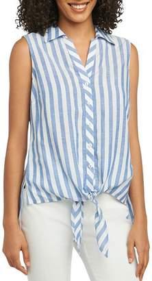 Foxcroft Lila Striped Tie-Waist Top