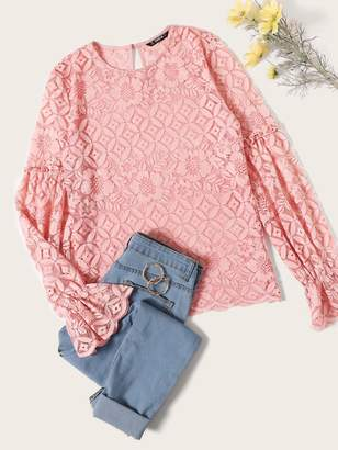 Shein Guipure Lace Bishop Sleeve Top Without Bra