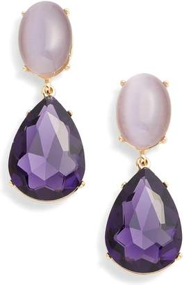 Halogen Gemstone Statement Double Drop Earrings