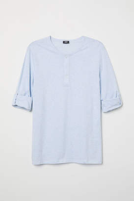 H&M Cotton Jersey Henley Shirt - Blue