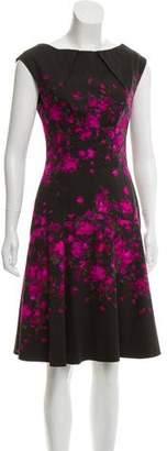 Lela Rose Floral Print Knee-Length Dress