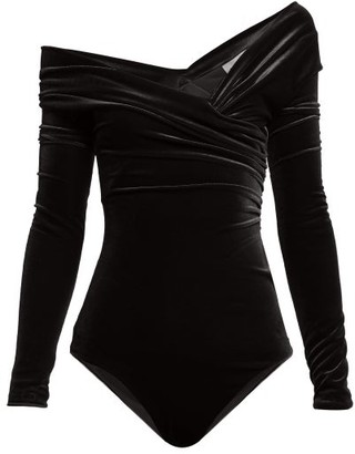 Alexandre Vauthier Off The Shoulder Velvet Bodysuit - Womens - Black