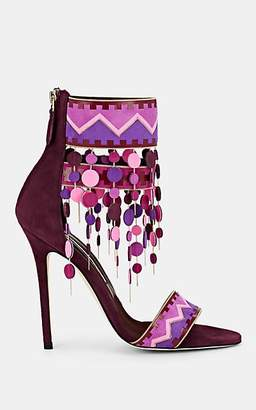 Brian Atwood WOMEN'S LALOPEZ CONFETTI-FRINGED LEATHER ANKLE-STRAP SANDALS - PURPLE SIZE 9