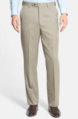 Berle Self Sizer Waist Flat Front Wool Gabardine Trousers