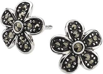 Dew Sterling Silver And Marcasite 5 Petal Flower Stud Earrings 3030mc