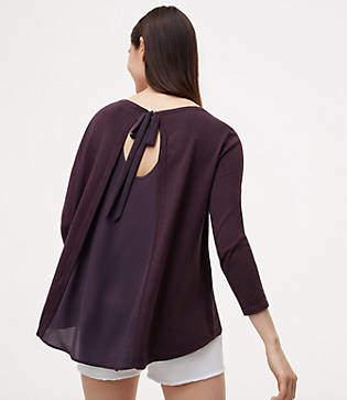 LOFT Tie Back Mixed Media Sweater