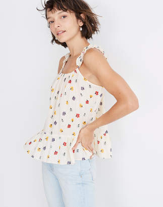 Madewell Ruffle-Strap Cami Top in Metallic-Striped Confetti Floral