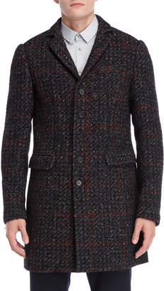 Patrizia Pepe Black Plaid Tweed Overcoat