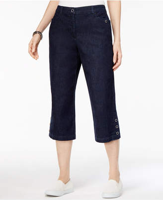 Karen Scott Petite Button-Trim Capri Jeans, Created for Macy's