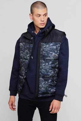 boohoo Printed Sleeveless Puffer Jacket