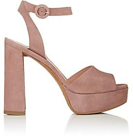 Barneys New York Women's Suede Ankle-Strap Platform Sandals - Rose
