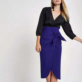 River Island Blue twist front pencil skirt