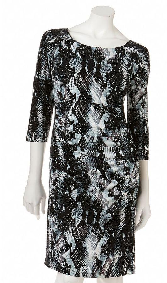 JLO by Jennifer Lopez snakeskin ruched sheath dress
