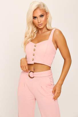 c34969ae73c I SAW IT FIRST Pink Button Detail Crop Top