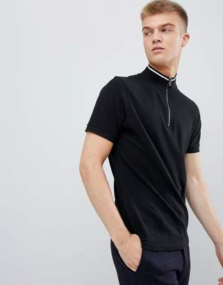 Another Influence Funel Neck Zip Up Collar Polo