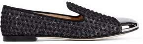 Giuseppe Zanotti Metallic Embroidered Woven Slippers