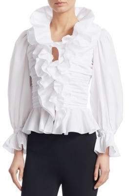 Ralph Lauren Iconic Style Sophie Ruffle Silk Blouse