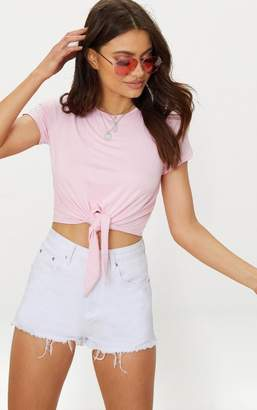 PrettyLittleThing White Jersey Short Sleeve Tie Front T Shirt