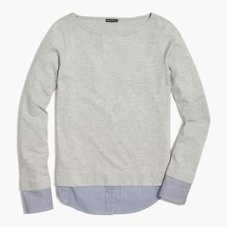 J.Crew Cuffed boatneck shirt with woven hem