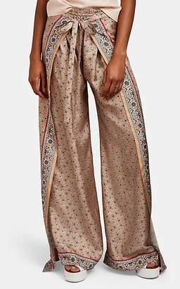 Chloé Women's Silk Wide-Leg Tie-Waist Pants - Grn. Pat.
