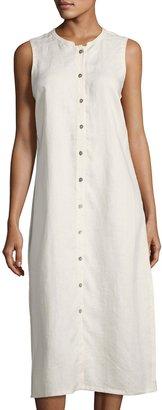Neiman Marcus Mandarin-Collar Linen Shift Dress, Beige $99 thestylecure.com