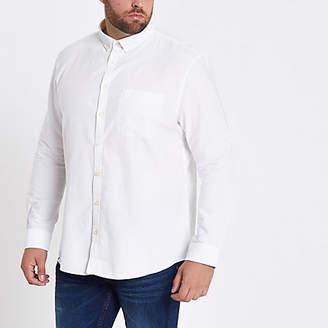River Island Big and Tall white long sleeve Oxford shirt