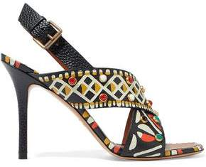 Valentino Embellished Printed Textured-Leather Slingback Sandals