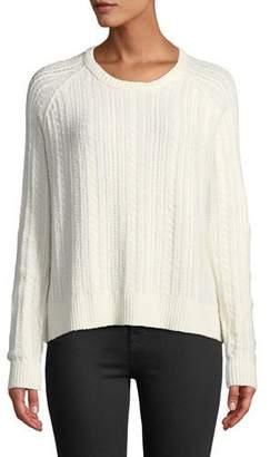ATM Anthony Thomas Melillo Cotton-Blend Cable-Knit Crewneck Sweater