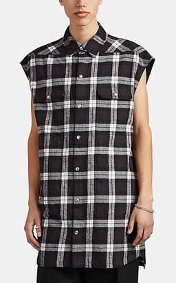 Rick Owens Men's Plaid Cotton Flannel Sleeveless Overshirt - Black