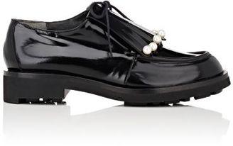 Robert Clergerie Women's Pearl-Embellished Biro Derbys-BLACK $625 thestylecure.com