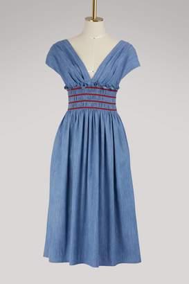 Miu Miu Embroidered denim dress