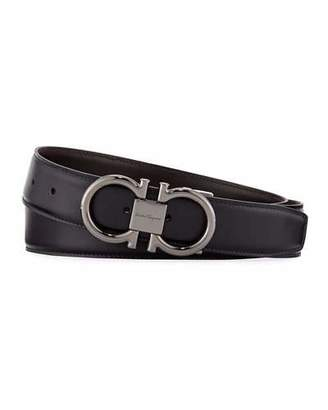Salvatore Ferragamo Men's Double-Gancini Reversible Leather Belt