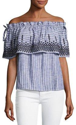 Parker Cassandra Off-the-Shoulder Striped Chambray Top, White/Indigo/Black $198 thestylecure.com