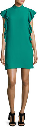 Kate Spade New York Flutter-Sleeve Satin Crepe Shift Dress, Emerald Ring $398 thestylecure.com