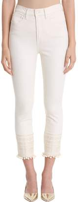 Tory Burch Denim With A Decorative Touch. Finished With An Embroidered Hem And Pom-pom Trim